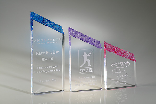 Free Standing Crystalized Color Triangle Top Acrylic Award