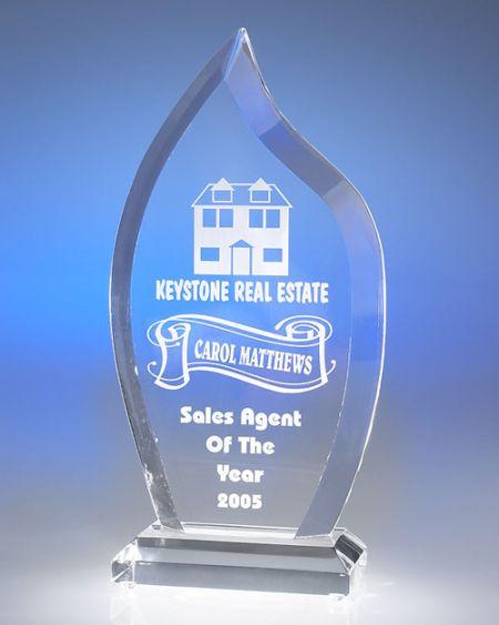 Large Flame Acrylic Award