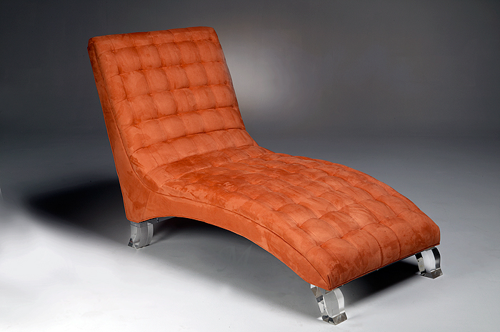 Chaise with Acrylic Legs