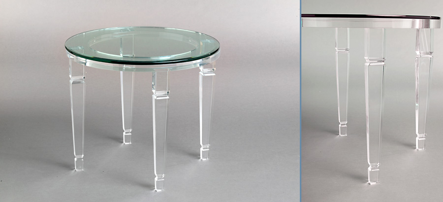 Venetian Round Acrylic End Table